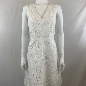 Theory White Jacquard Fit & Flare Dress Size 10